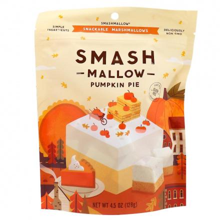 Front of Smashmallow Snackable Marshmallows Pumpkin Pie, 128g