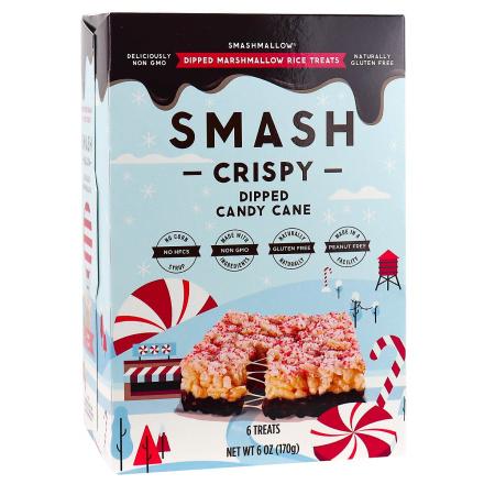 Front of Smashmallow Smash Crispy Dipped Marshmallow Rice Treats Candy Cane, 6 Treats