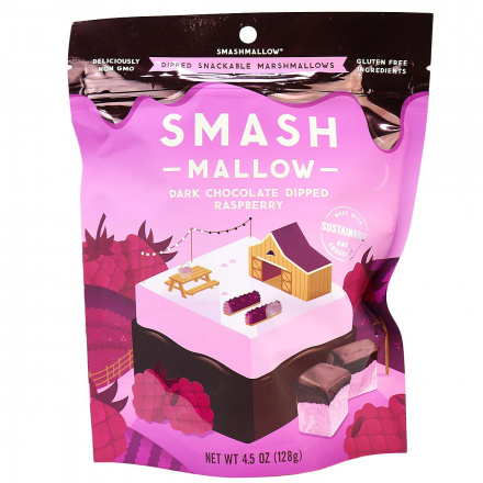 SmashMallow Dark Chocolate Dipped Raspberry Marshmallows, 128g