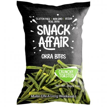 Front of Snack Affair Okra Bites, 20g