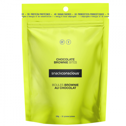 Front of Snackconscious Chocolate Brownie bites, 150g
