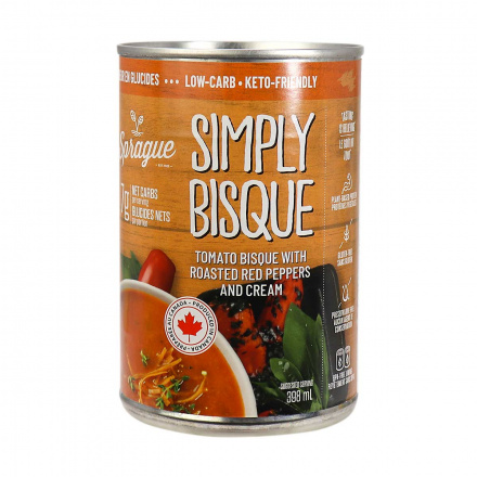 Front of Sprague Simply Bisque Keto-Friendly Soup, 398ml