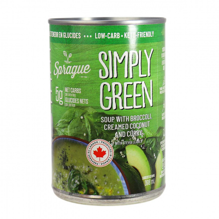 Front of Sprague Simply Green Keto-Friendly Soup, 398ml