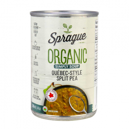 Front of Sprague Organic Canadian-Style Split Pea Soup, 425g