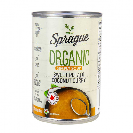 Front of Sprague Organic Sweet Potato Coconut Curry Soup, 411g