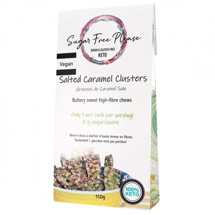 Front of Sugar Free Please Vegan Keto Salted Caramel Clusters, 110g