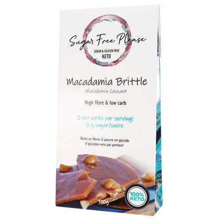 Front of Sugar Free Please Keto Macadamia Brittle, 100g