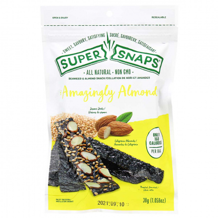 Front of Super Snaps All Natural Amazingly Almond, 30g