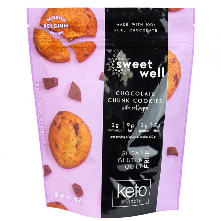 Sweetwell Keto Cookies with Collagen Chocolate Chunk, 90g