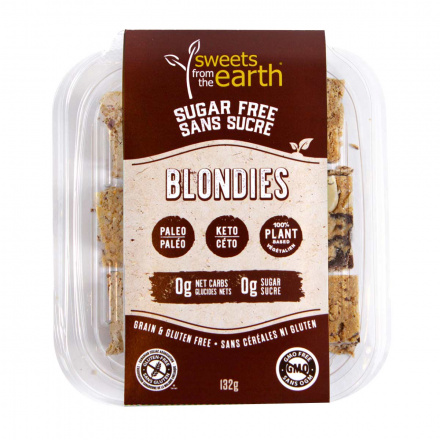 Front of Sweets From The Earth Sugar Free Keto Blondies, 132g