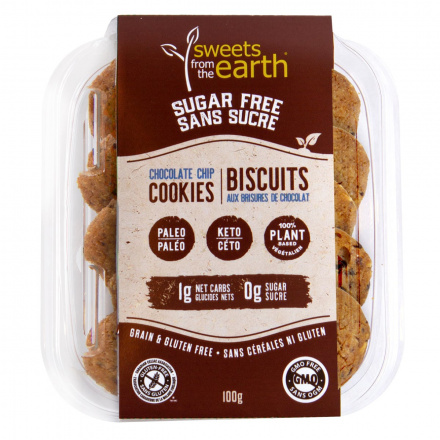Front of Sweets From The Earth Sugar Free Keto Chocolate Chip Cookies, 100g