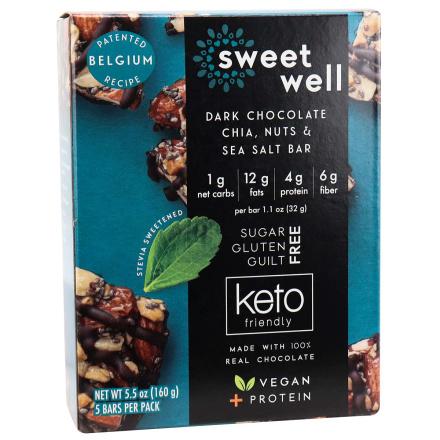 Front of Sweetwell Keto Bar Dark Chocolate Chia, Nuts & Sea Salt, 5 Bars