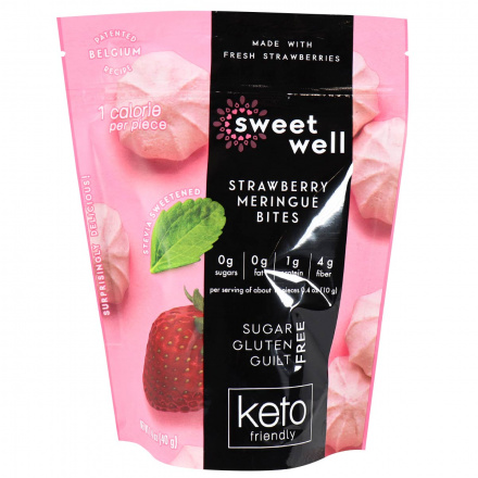 Front of Sweetwell Keto Meringue Bites Strawberry, 40g