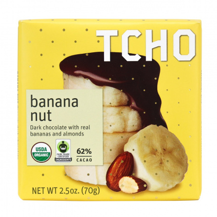 TCHO Banana Nut Dark Chocolate Bar, 70g