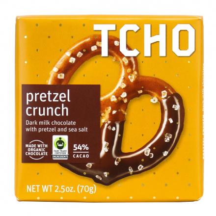 TCHO Pretzel Crunch Dark Milk Chocolate Bar, 70g