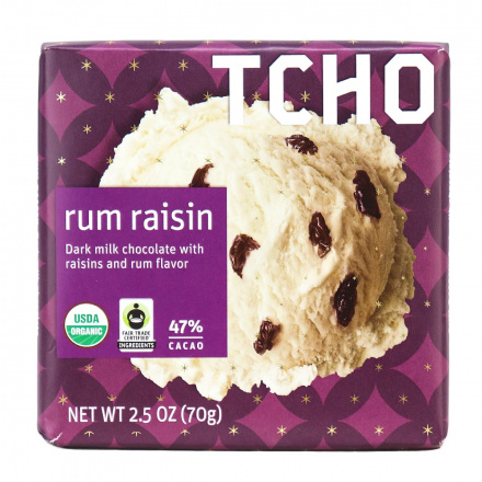TCHO Rum Raisin Dark Milk Chocolate Bar, 70g