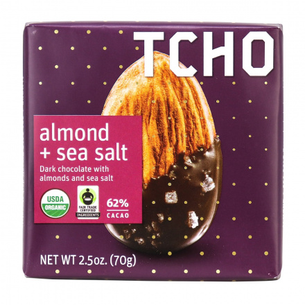 TCHO Almond Sea Salt Dark Chocolate Bar, 70g