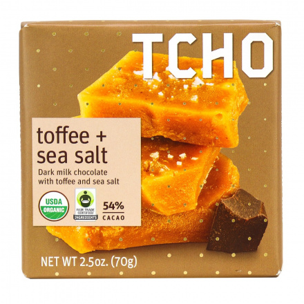 TCHO Toffee Sea Salt Dark Milk Chocolate Bar, 70g