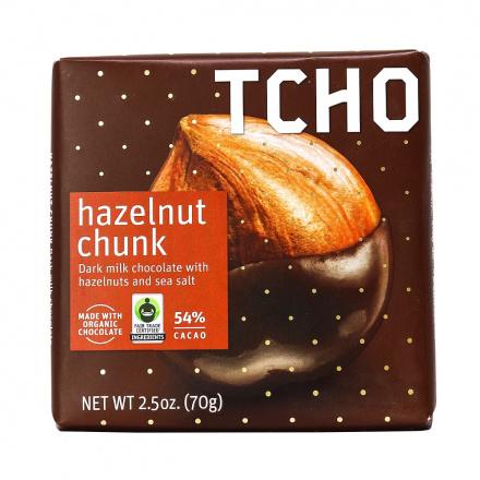 TCHO Hazelnut Chunk Dark Milk Chocolate with Hazelnuts & Sea Salt, 70g