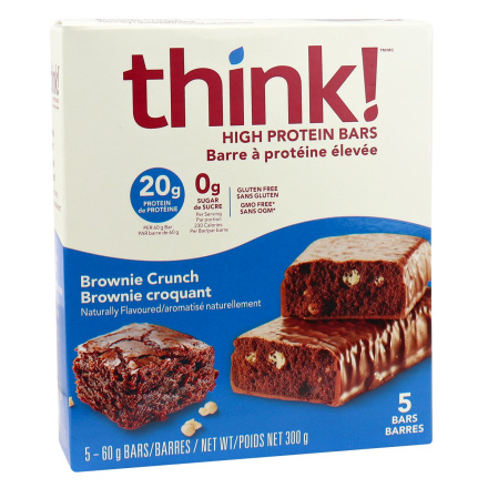 Front of Think! High Protein Bars Brownie Crunch, 5 Bars