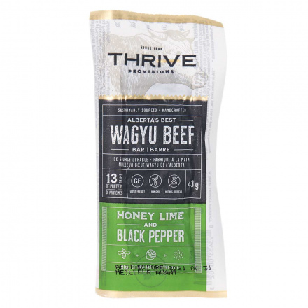Front of Thrive Provisions Wagyu Beef Bar Honey Lime and Black Pepper, 43g