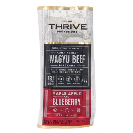 Front of Thrive Provisions Wagyu Beef Bar Maple Apple and Blueberry, 43g