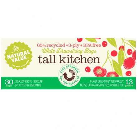 Natural Value 65% Recycled Tall Kitchen White Plastic Bags, 30 Ct