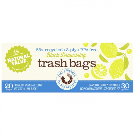 Natural Value 65% Recycled Black Trash Plastic Bags, 20 Ct