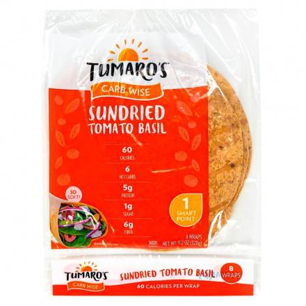 Front of Tumaro's Carb Wise Sundried Tomato Basil Wraps, 8 Wraps
