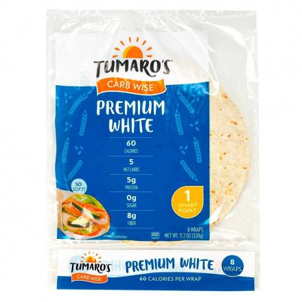 Front of Tumaro's Carb Wise Premium White Wraps, 8 Wraps