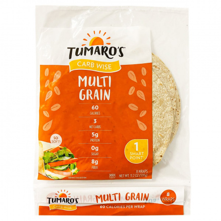 Front of Tumaro's Carb Wise Multi Grain Wraps, 8 Wraps