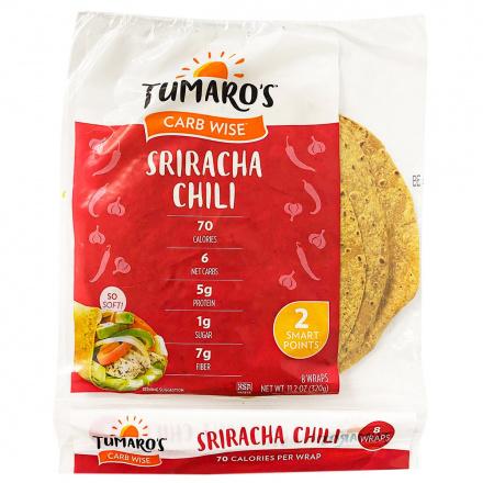 Front of Tumaro's Carb Wise Sriracha Chili Wrap, 8 Wraps