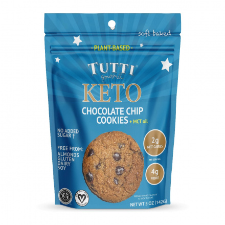 Front of Tutti Gourmet Vegan Keto Soft Baked Chocolate Chip Cookies, 142g
