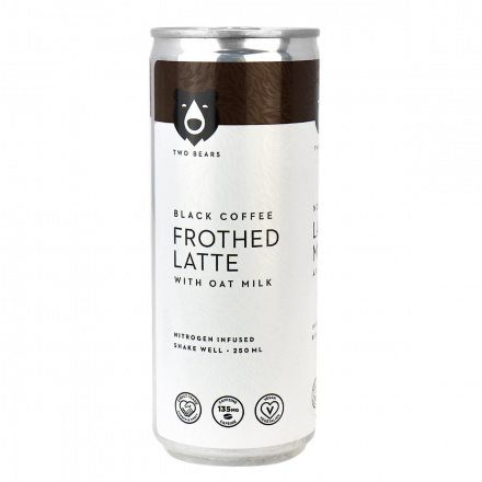Two Bears Frothed Latte with Oat Milk Black Coffee, 250ml