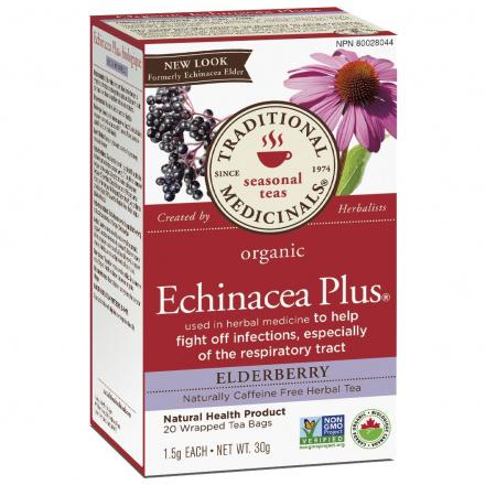 Traditional Medicinals Organic Echinacea Plus Elderberry Tea, 20 tea bags