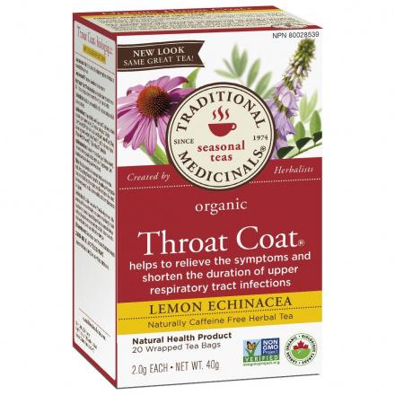 Traditional Medicinals Organic Throat Coat Lemon Echinacea Tea, 20 tea bags