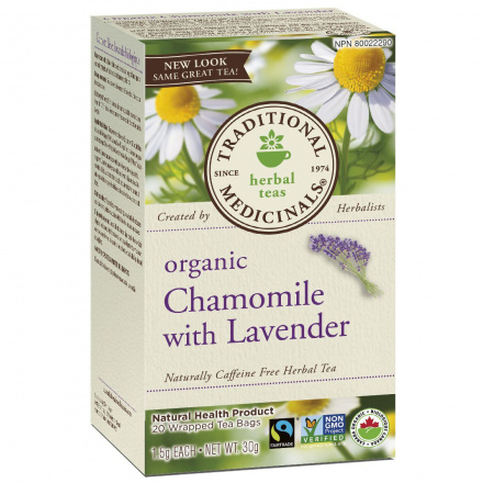 Traditional Medicinals Organic Chamomile With Lavender Tea, 20 tea bags
