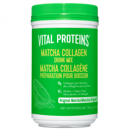 Front of Vital Proteins Pasture Raised, Grass Fed Matcha Collagen Peptide Drink Mix, 341g