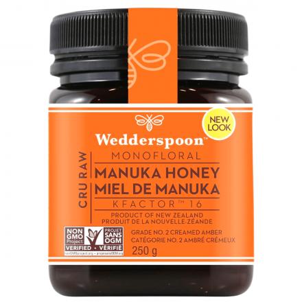 Wedderspoon Cru Raw Monofloral Manuka Honey KFactor 16, 250g