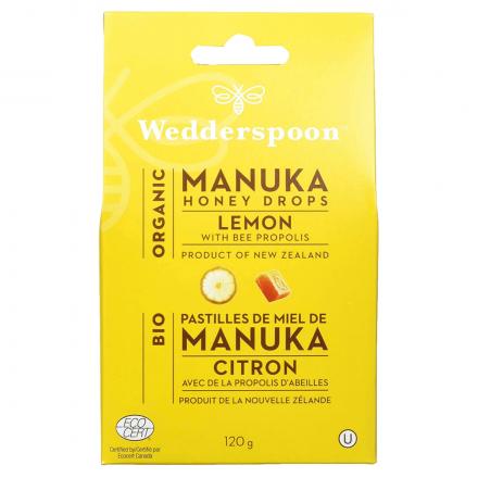 Wedderspoon Organic Manuka Honey Drops Lemon with Bee Propolis, 120g