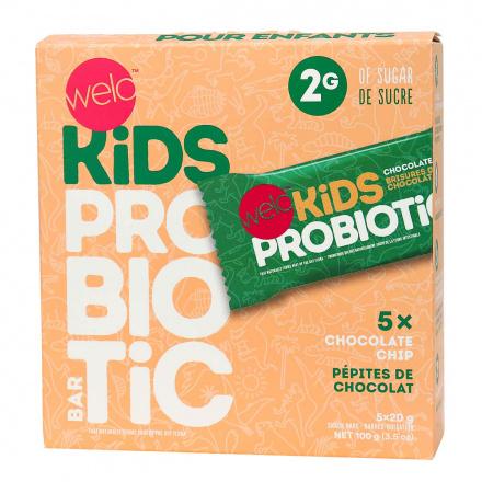 Welo Kids Probiotic Bars Chocolate Chip, 5 Bars