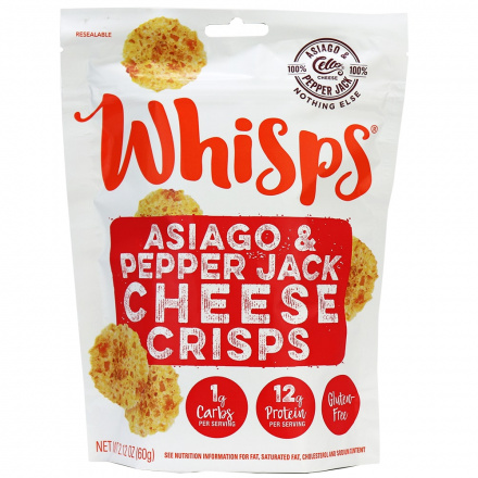Front of Whisps Asiago & Pepper Jack Cheese Crisps, 60g