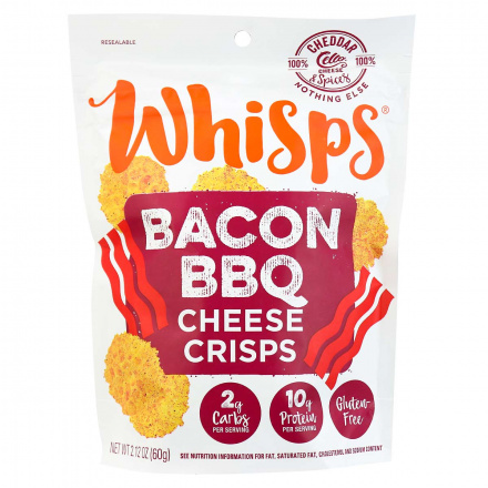 Whisps BBQ Bacon Cheddar Cheese Crisps, 60g