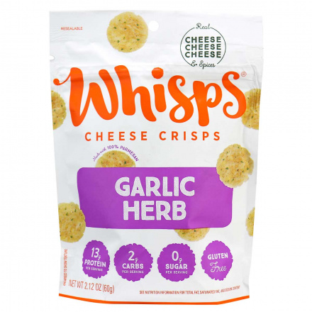Front of Whisps Garlic & Herb Parmesan Cheese Crisps, 60g