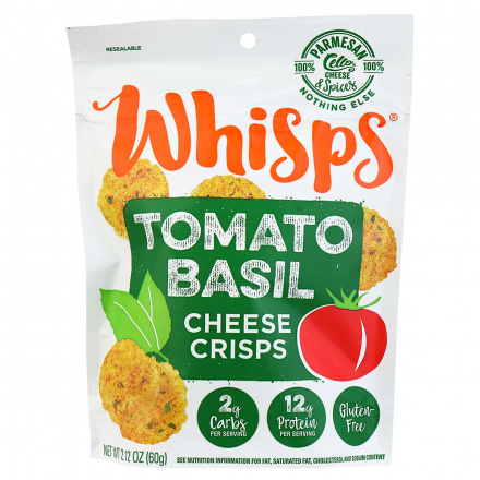 Front of Whisps Tomato Basil Cheese Crisps, 60g