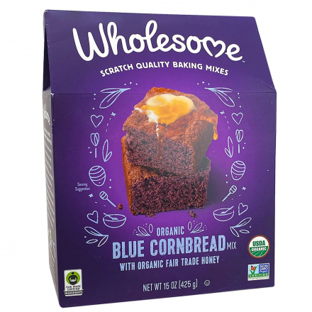 Front of Wholesome Organic Blue Cornbread Mix, 425g