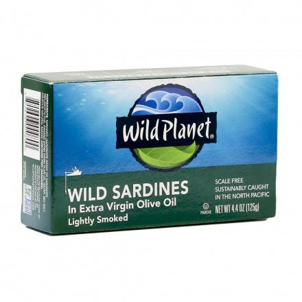 Wild Planet Non-GMO Wild Sardines in Extra Virgin Olive Oil Lightly Smoked, 125g