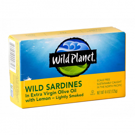 Wild Planet Non-GMO Wild Sardines in Extra Virgin Olive Oil With Lemon, 125g