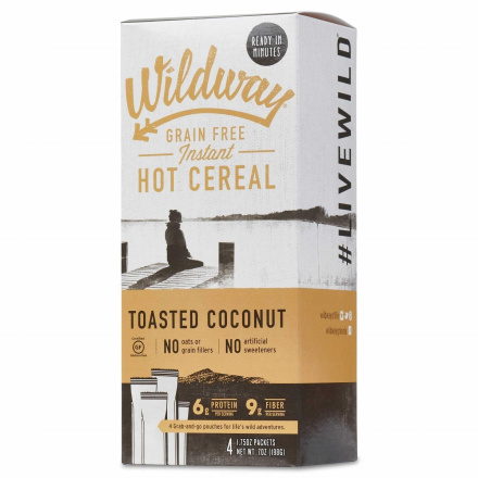 Wildway Grain-Free Instant Hot Cereal Toasted Coconut, 4 Packets