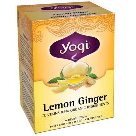 Yogi Tea Lemon Ginger Tea Caffeine Free, 16 Bag